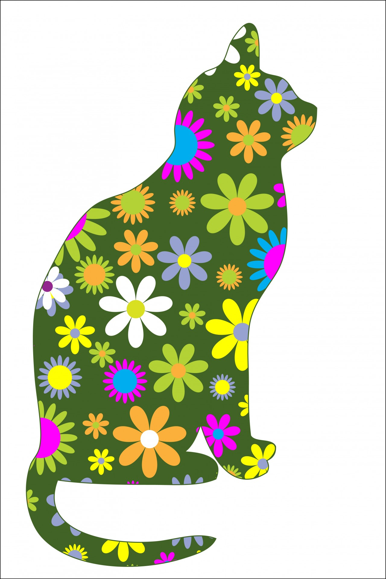 Funky retro free stock. Cat clipart floral