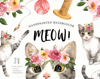 Etsy lover watercolor cliparts. Cat clipart floral