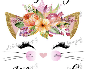 Cat clipart floral. Personalized custom products by