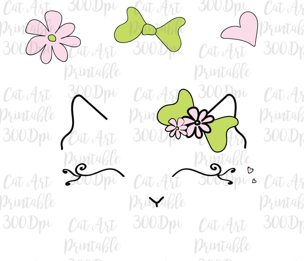 Faces face hand drawn. Cat clipart floral