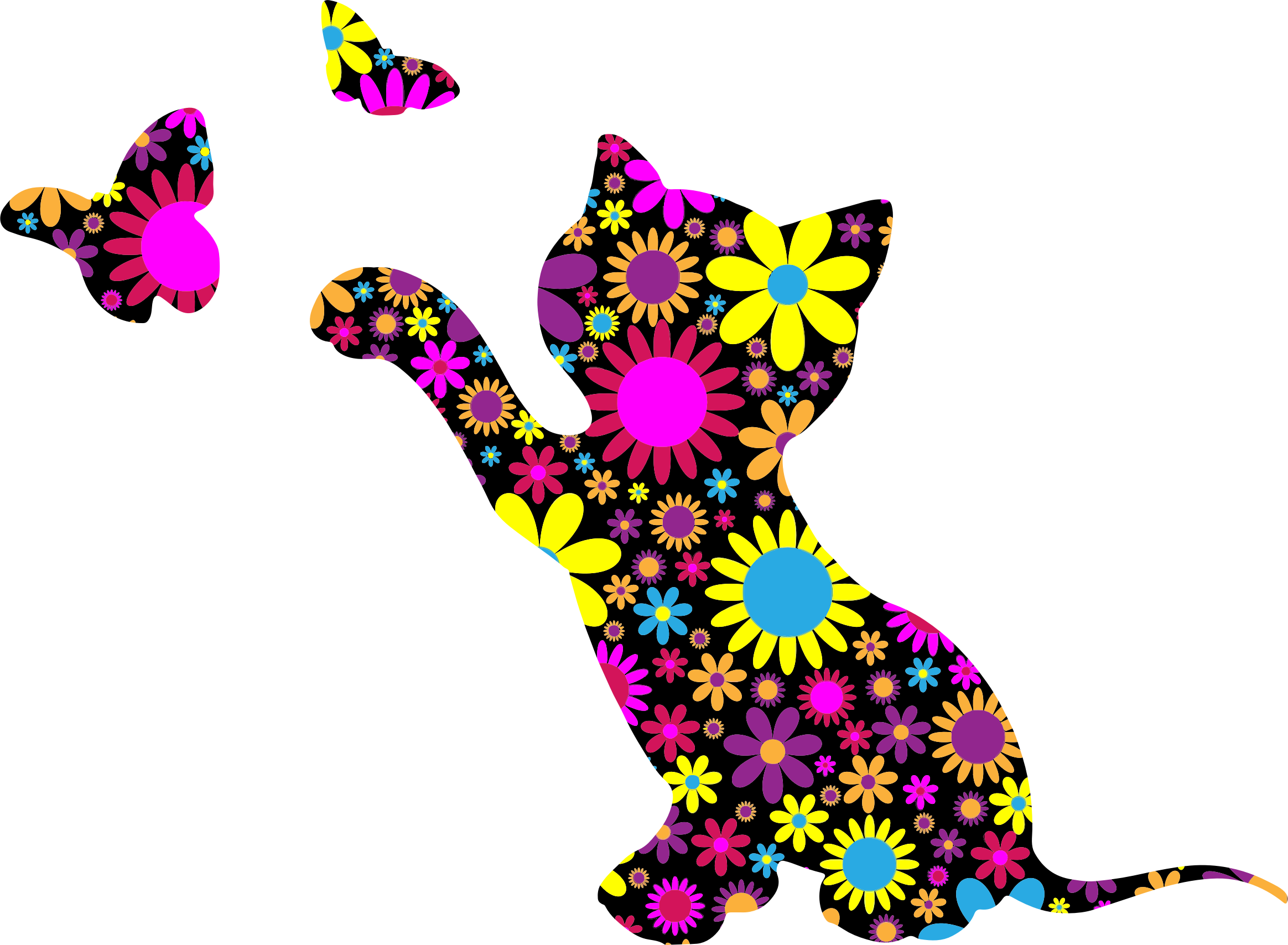 Kitten clipart flower. Floral playing with butterflies