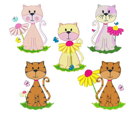 Cute kitten machine embroidery. Cat clipart floral