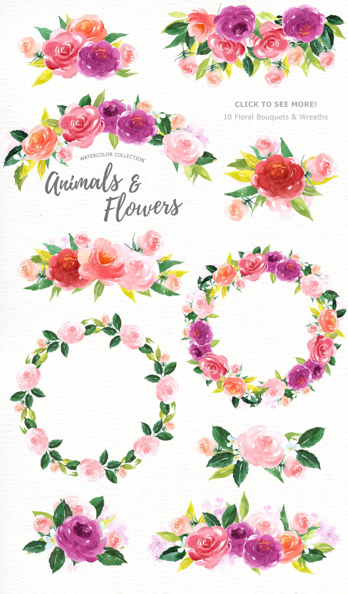 Animals and flowers watercolor. Cat clipart floral
