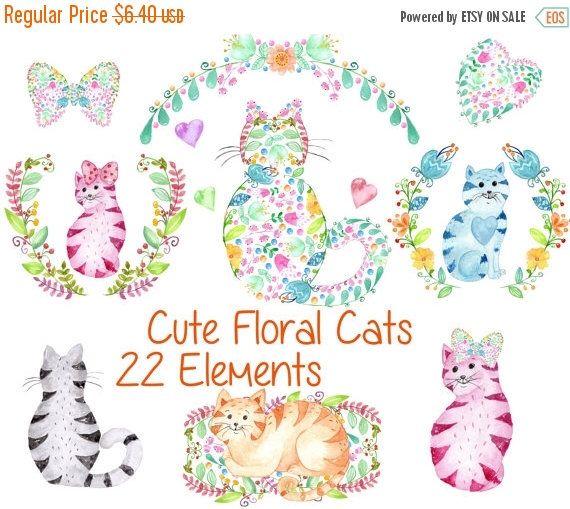Cat clipart floral. Cute watercolor cats kids