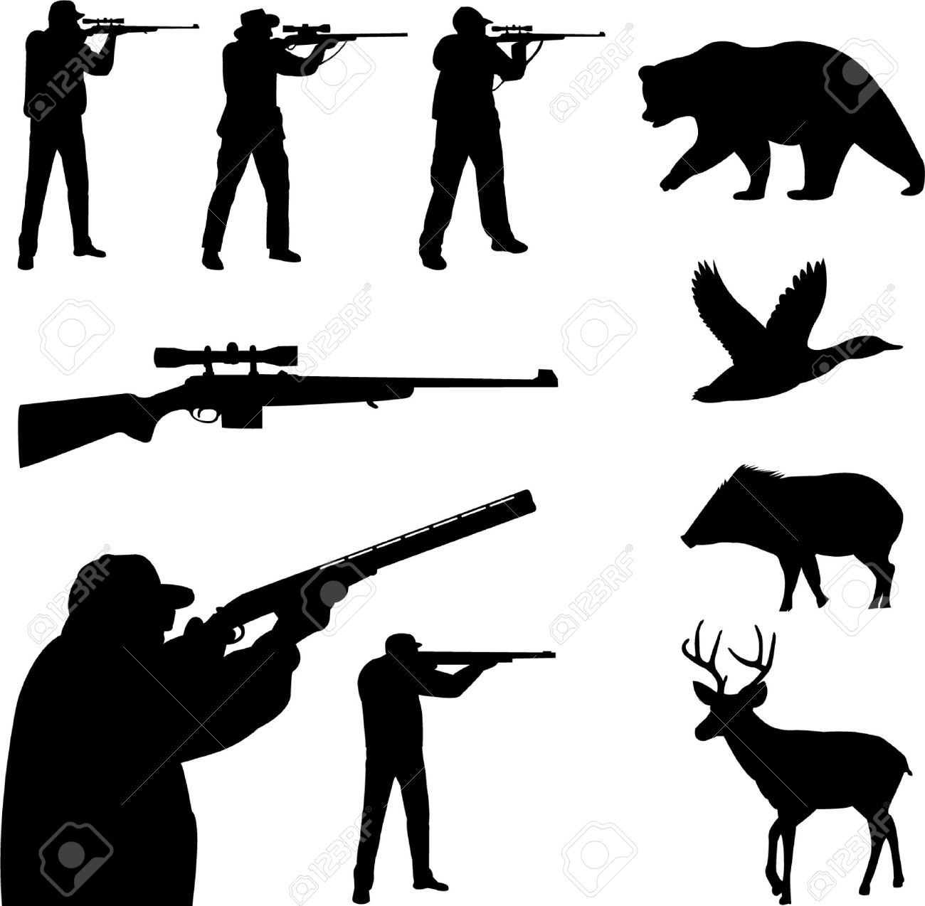 Hunter clipart deer rifle. Hunting cliparts stock vector