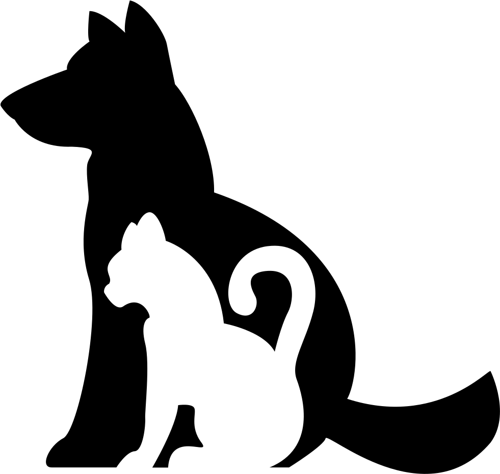 Dog and silhouette clip. Clipart cat icon