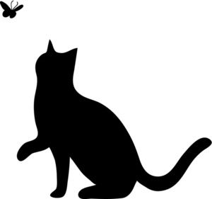 Of a silhouette playing. Cat clipart illustration