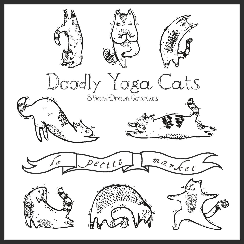 Cat clipart illustration. Hand drawn digital yoga