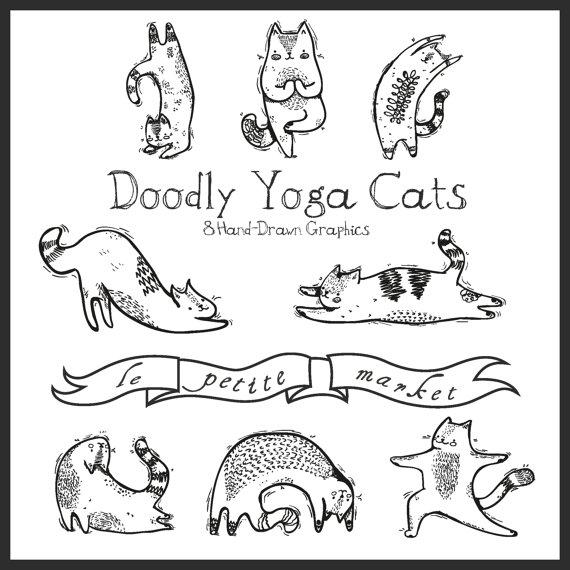 Hand drawn digital yoga. Cat clipart illustration