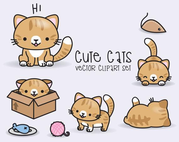 Cat clipart kawaii. Premium vector ginger cats