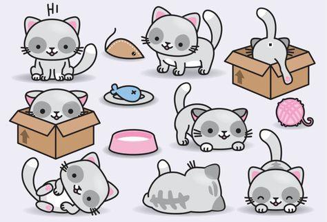 Cat clipart kawaii. Premium vector cats cute