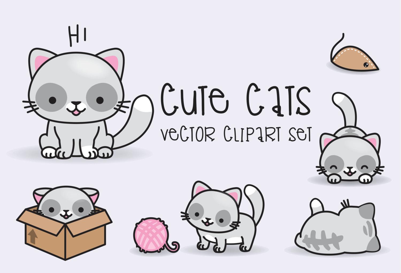 Premium vector cats cute. Cat clipart kawaii
