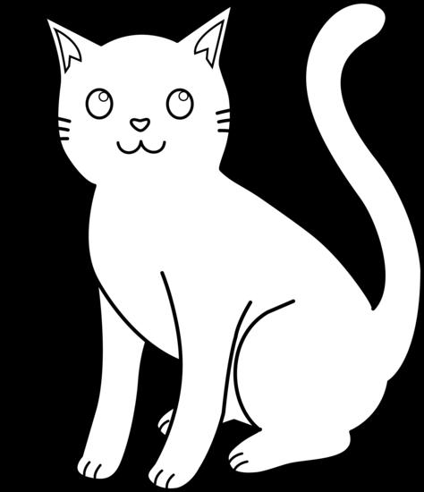 White cat clip art. Cats clipart outline