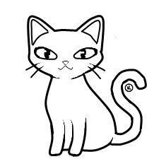 Cats clipart outline. White cat clip art