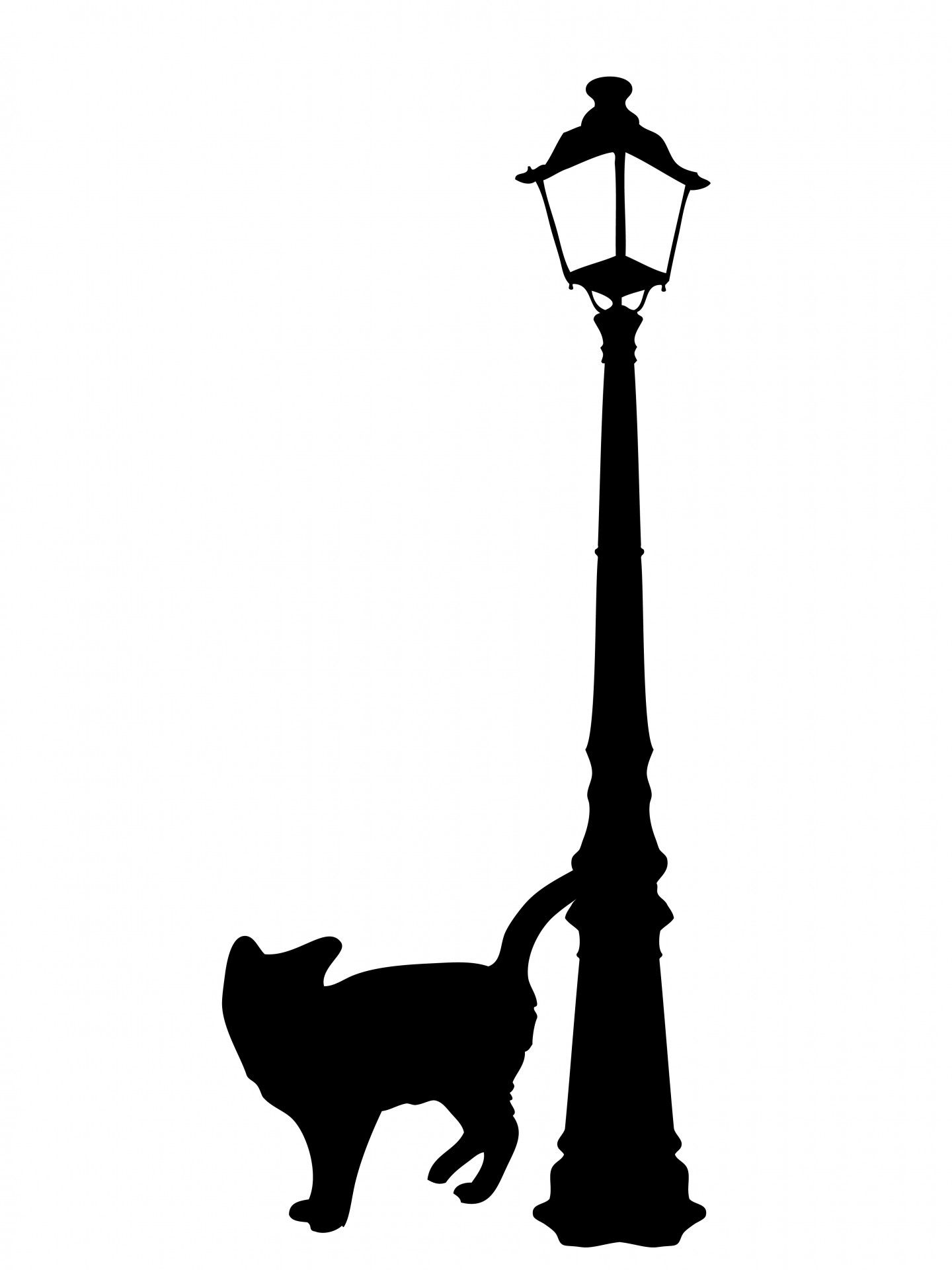 Black cat silhouette free. Cats clipart post