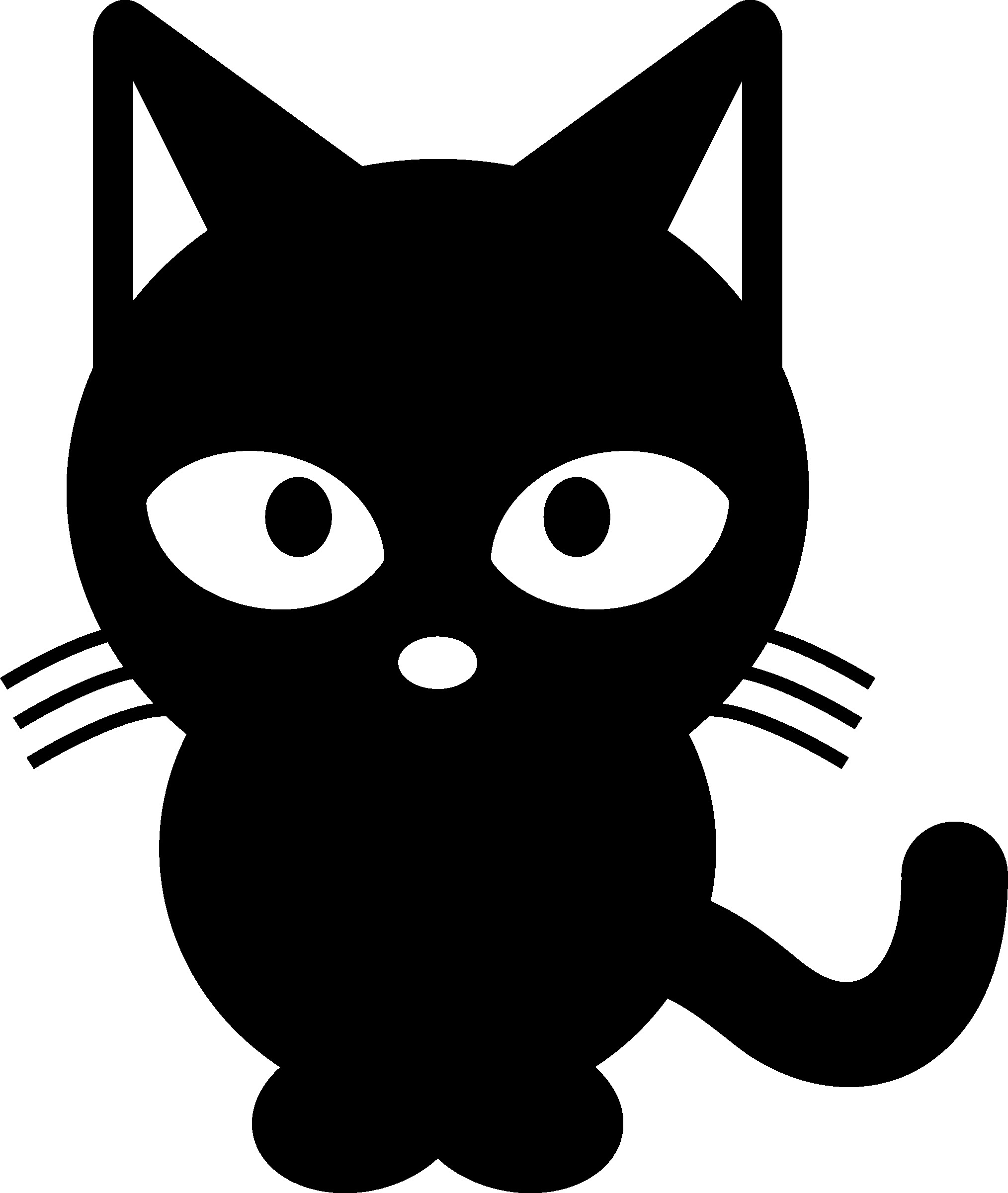 Cat black and white. Cats clipart post