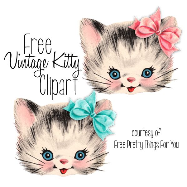 Free clip art kitty. Cat clipart printable