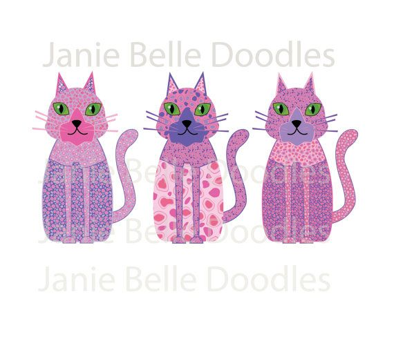 Cat clipart printable. Calico and pink art