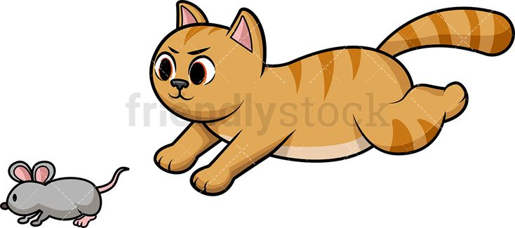 Chasing mouse kids in. Clipart cat run