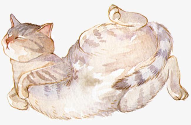 Cat clipart shape. Cute watercolor animal kitty