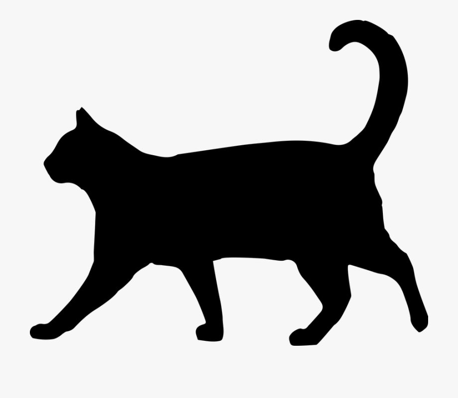 Kitty clipart walking. Black cat silhouette clip