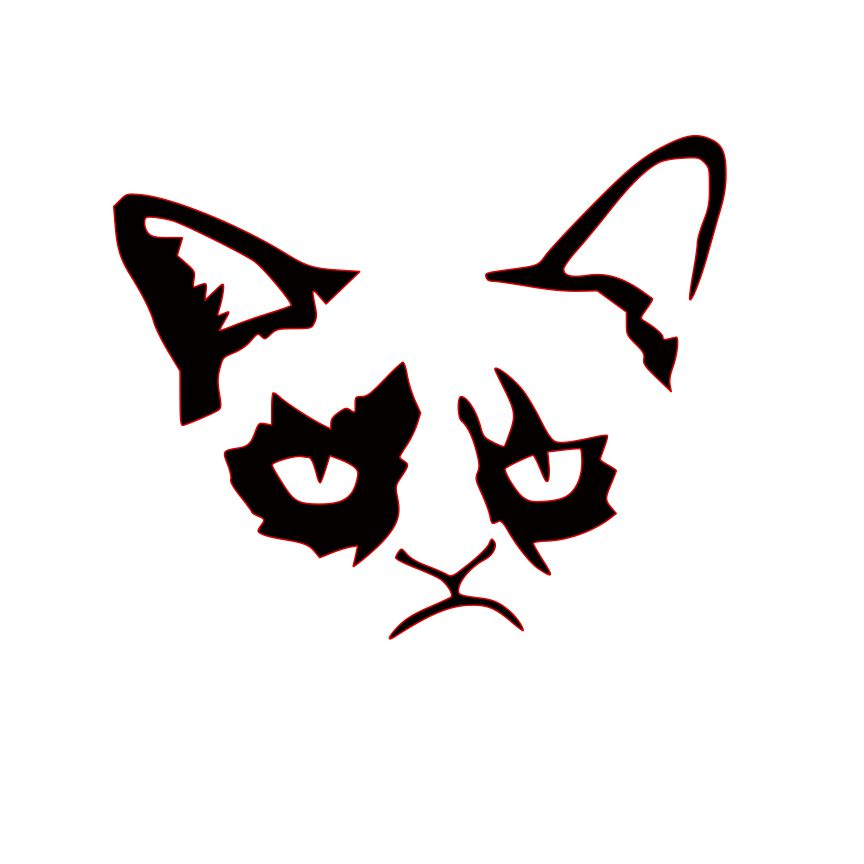 Cat clipart stencil. Grumpy clip art library