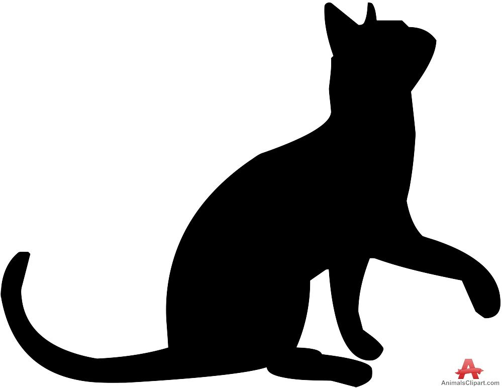 Cat clipart stencil. Looking up silhouette free
