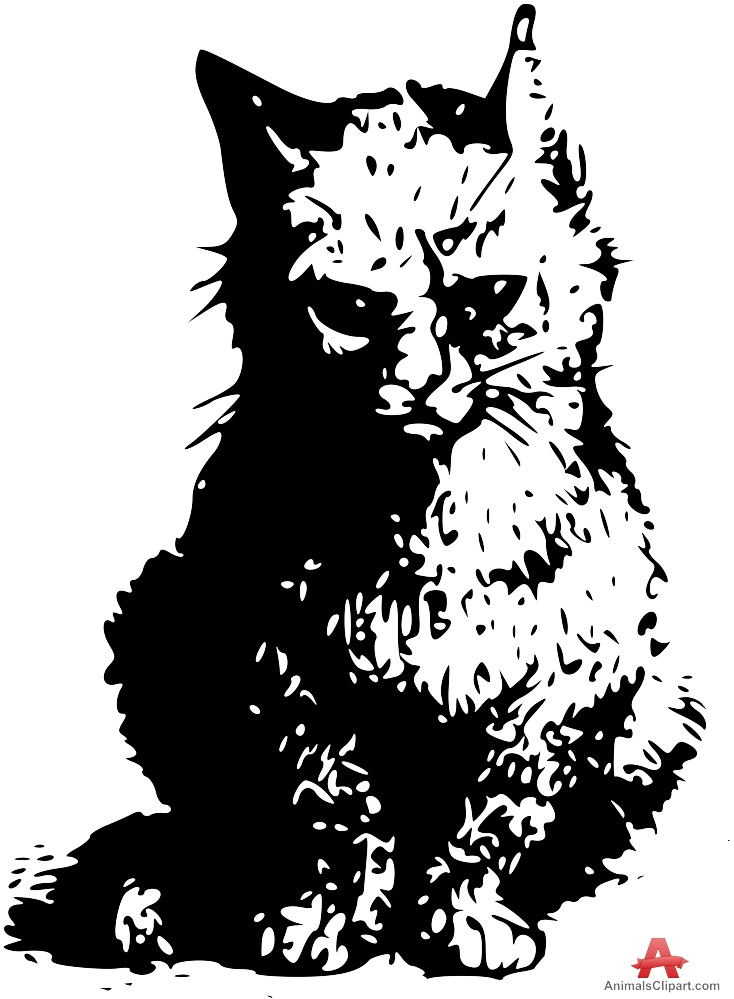 Of in black and. Cat clipart stencil
