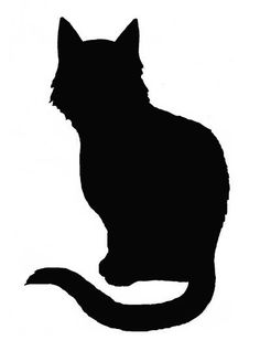 Silhouettes for halloween pinterest. Cat clipart stencil