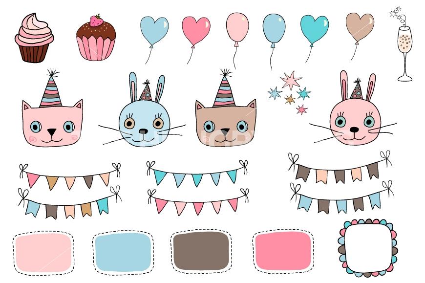 Cat clipart supply. Happy birthday set cute