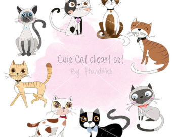 Cat clipart supply. Etsy cute kitty set