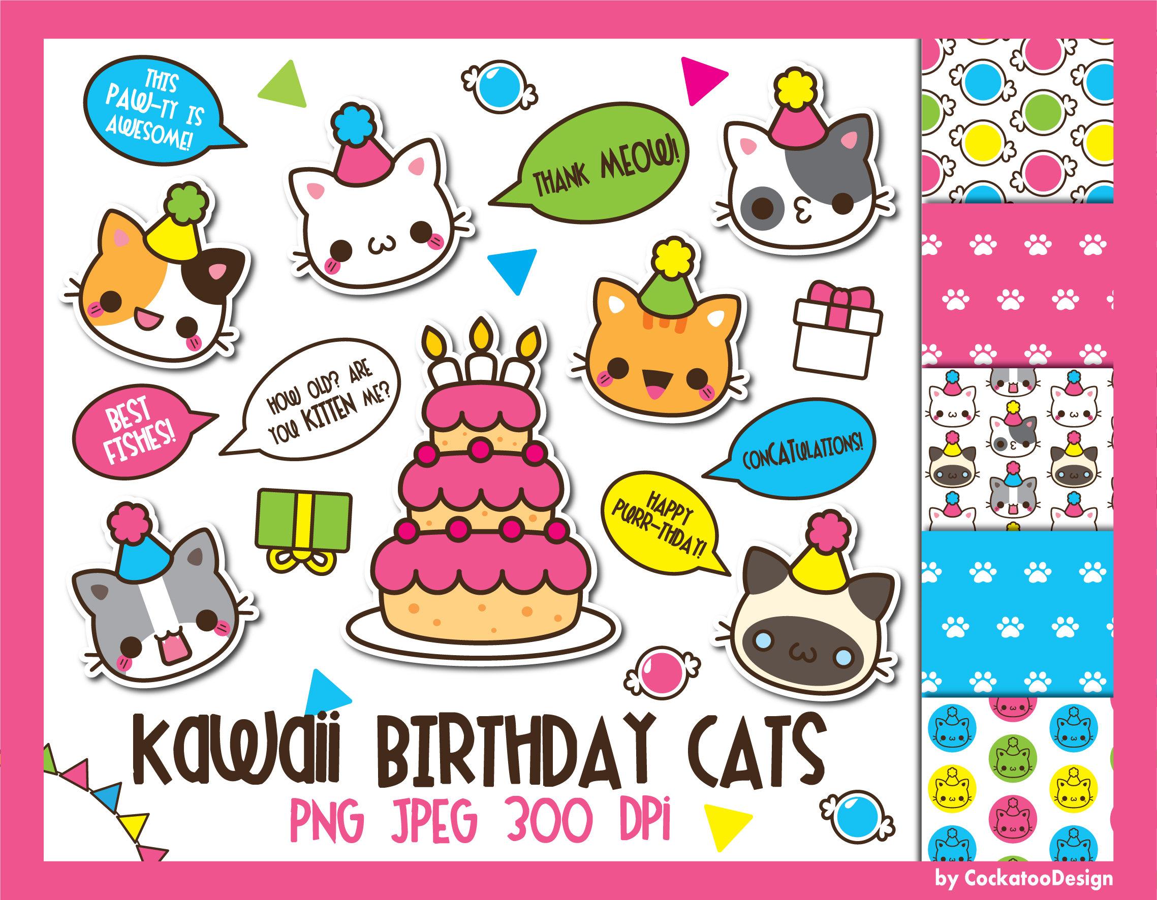 off birthday kawaii. Cat clipart supply
