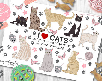 Cattitude planner stickers cute. Cat clipart supply