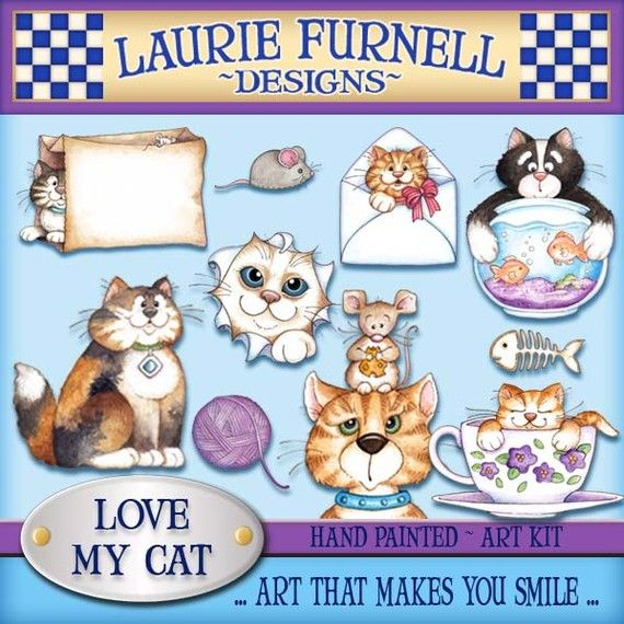 Laurie furnell cute art. Cat clipart supply
