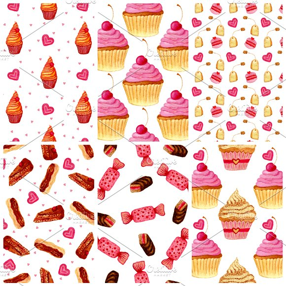 Cat clipart supply. Watercolor sweets patterns vector