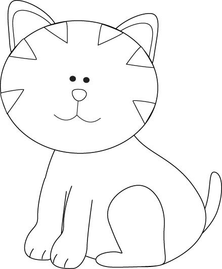 Pencil and in color. Cat clipart template
