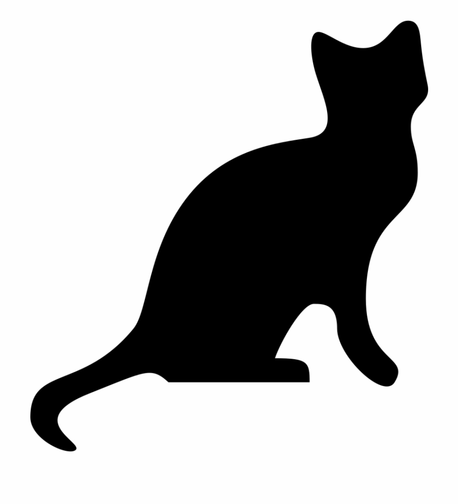 Kittens yarn ball silhouette. Clipart cat transparent background