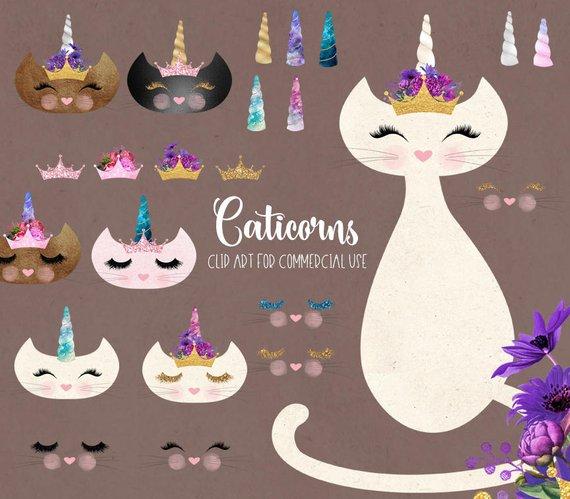 Cats clipart unicorn. Caticorns cat clip art