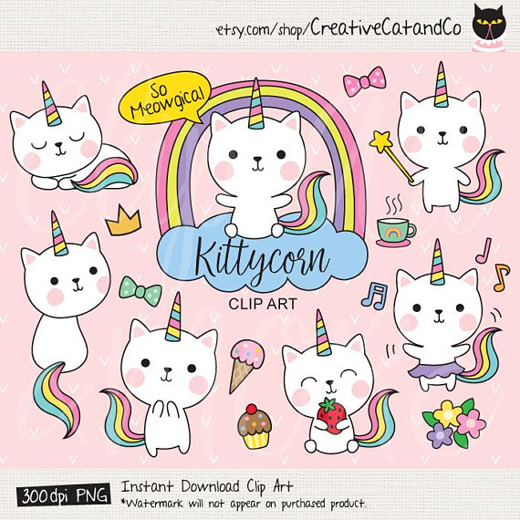 Cat cute clip art. Cats clipart unicorn