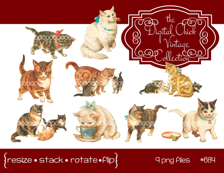 Digital instant download and. Cat clipart vintage
