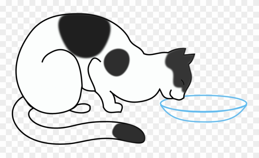 Cat clipart water. Drinking draw a eating