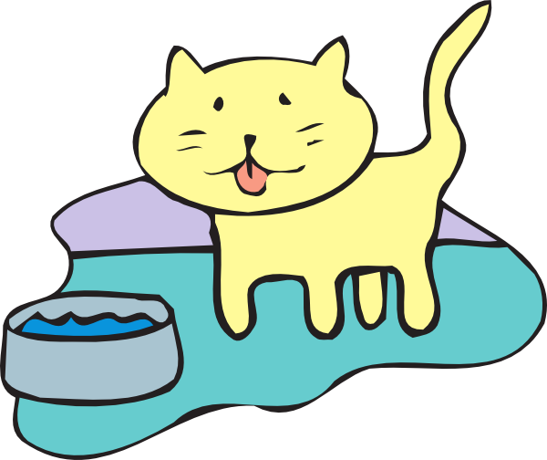 Cat clipart water. And bowl clip art