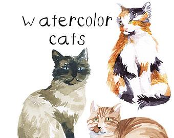 Cat clipart watercolor. Clip art etsy painted