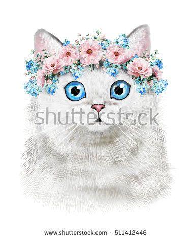 Cute illustration t shirt. Cat clipart watercolor