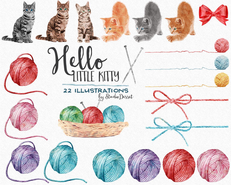 Kitty clip art yarn. Cat clipart watercolor
