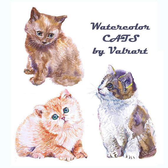 Cat clipart watercolor. Lover gift instant download
