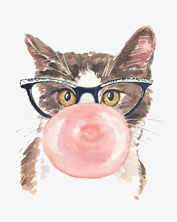 Cartoon hand painted png. Cat clipart watercolor