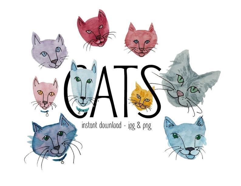 Cats clip art pet. Cat clipart watercolor