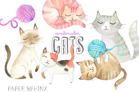 Cats kitten clip art. Cat clipart watercolor