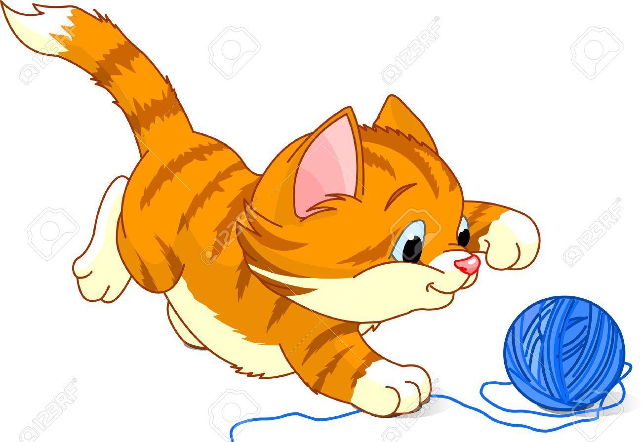 Cat cartoon top images. Kitty clipart ball yarn